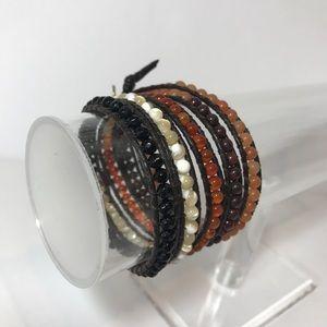 Nakamol Beaded Leather Wrap Bracelet Browns White